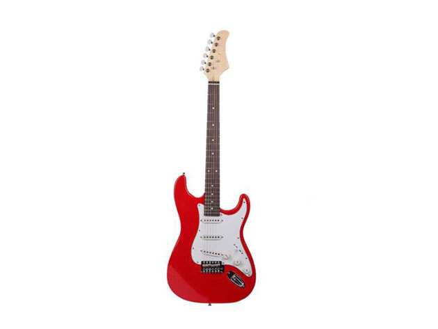 Elektronikus gitár szett kezdőknek, ajándék hangfallal, (HOP1000983-1 piros-fehér)