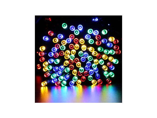100 LED-es napelemes kerti fényfüzér, színes, 10 m HOP1000793-3