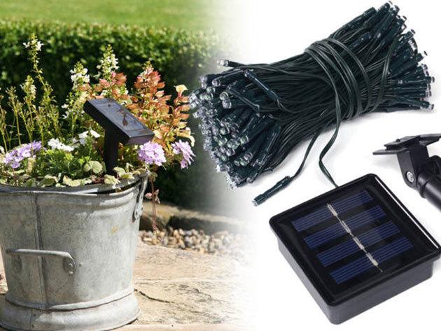 Napelemes kerti fényfüzér több színben, 100 LED-del / 10 vagy 20 méteres