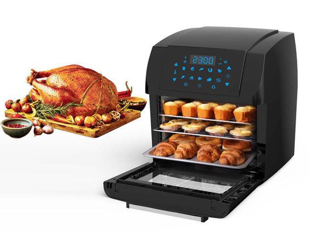 Digitális meleglevegős sütő grill funkcióval, digitális vezérlőpanellel - olaj nélkül, meleg levegővel süt