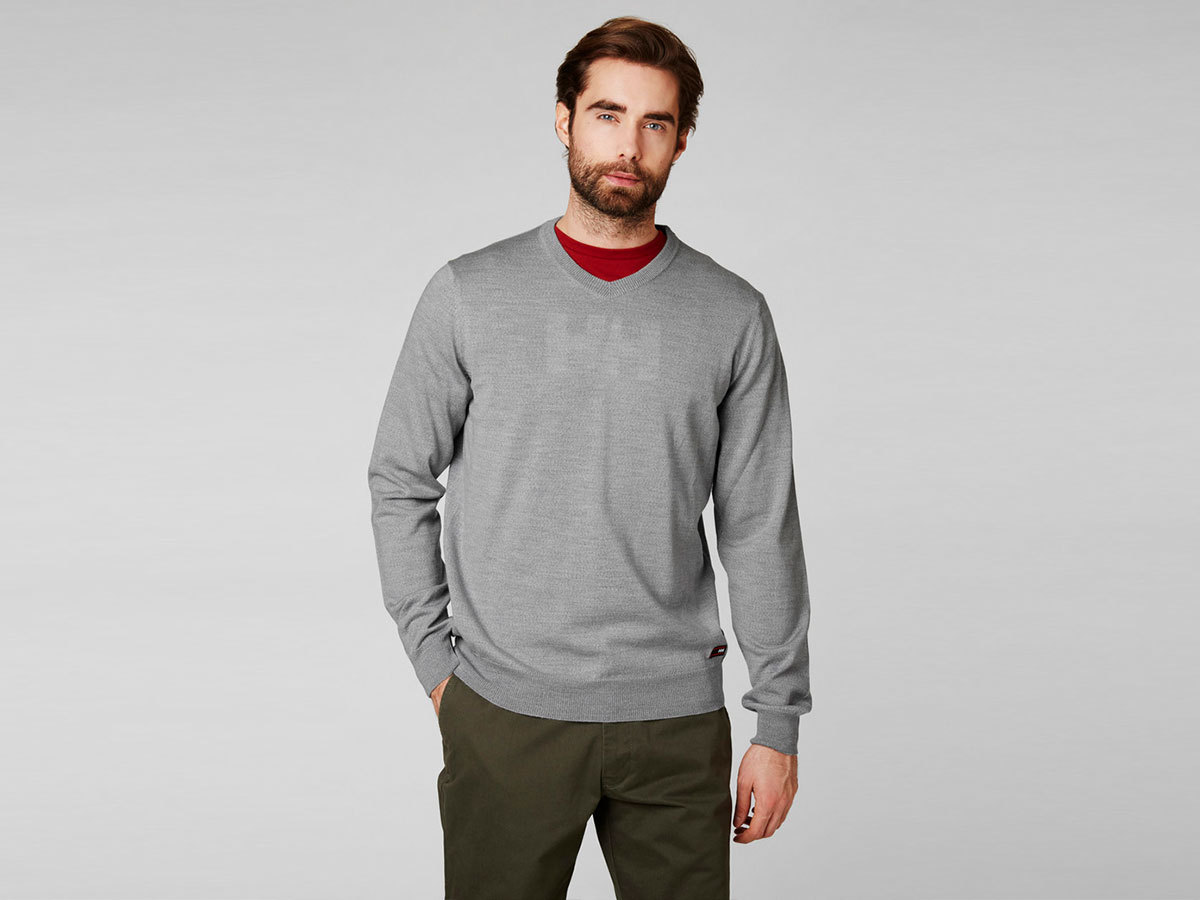 Helly Hansen SKAGEN MERINO SWEATER - GREY MELANGE - XXL (33997_949-2XL )