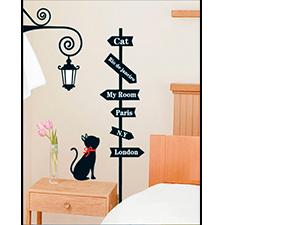 Cica táblával falmatrica (A cica 35 cm, a kirakható tábla 120 cm magas)
