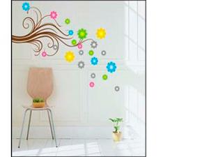 Színes virágok (A felragasztható indás rész 78 cm magas és 27 db színes virág található még a hordozón)