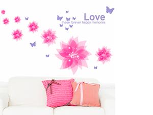 Rózsaszín virágok (8 virág, 12 pillangó. A legnagyobb virág mérete 29x29 cm, a legkisebb 8x8cm)