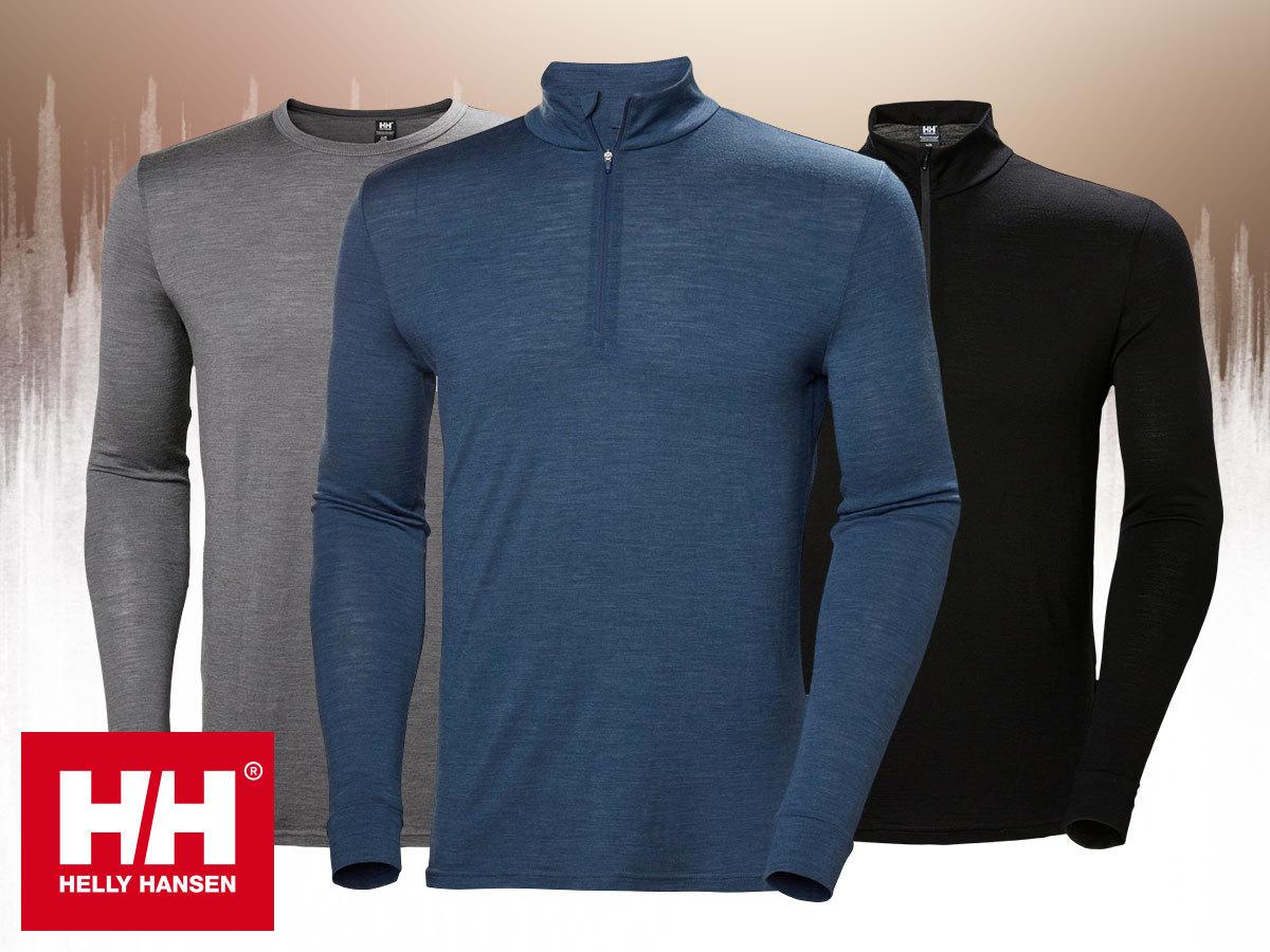 Helly Hansen HH MERINO MID 1/2 ZIP és MID LS férfi aláöltözet felsőrész - 100%-os tisztaságú merinó gyapjú anyagból
