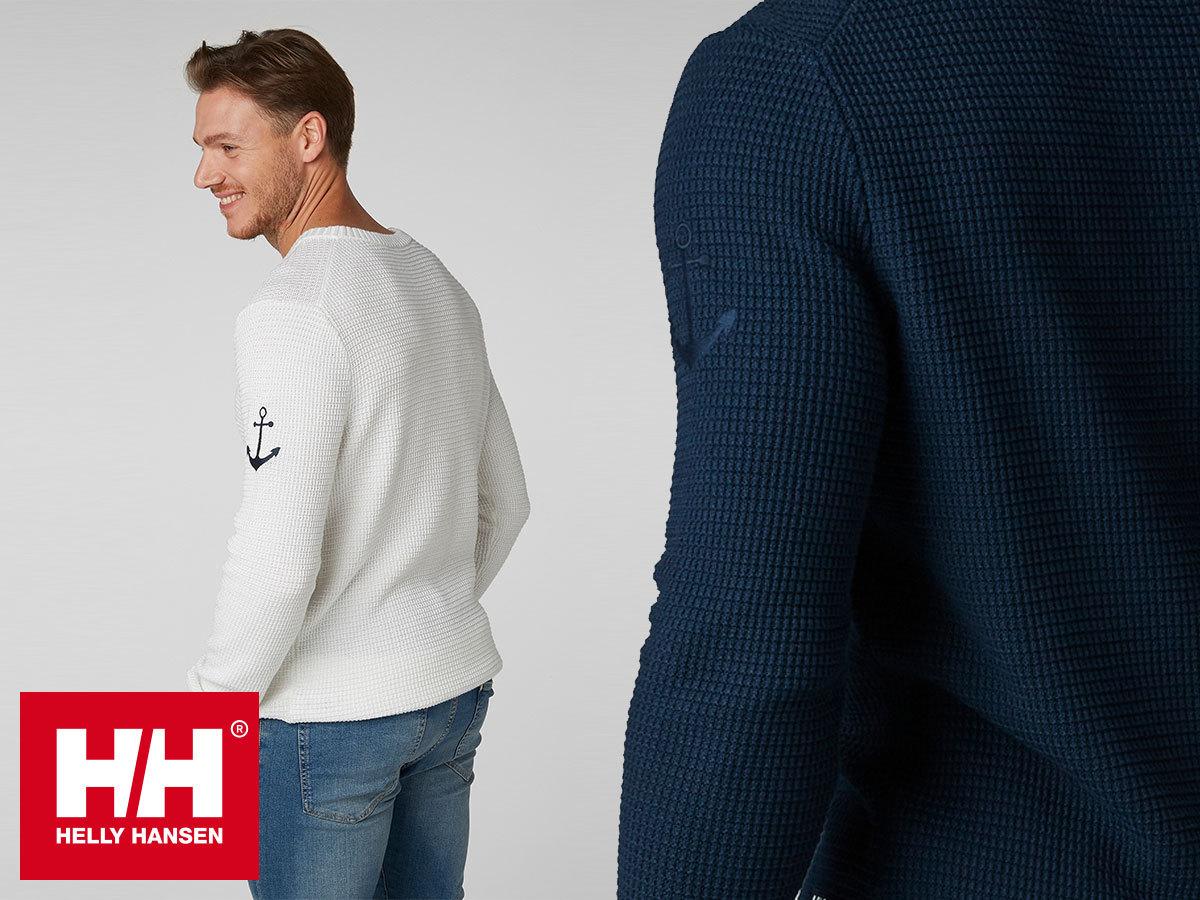 Helly Hansen FJORD SWEATER férfi kötött pulóverek meleg pamut anyagból a könnyed elegancia jegyében (S-XXL)