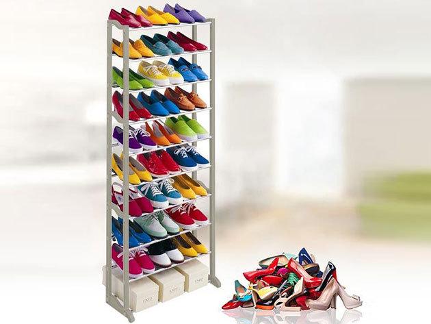 Helytakarékos cipőtároló - 10 soros stabil tároló, akár 30 pár cipőnek