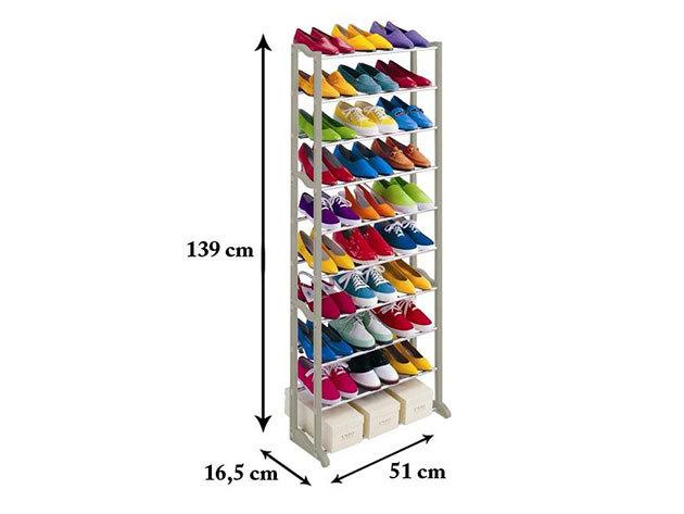 10 soros cipőtároló - fehér -  HOP1000220