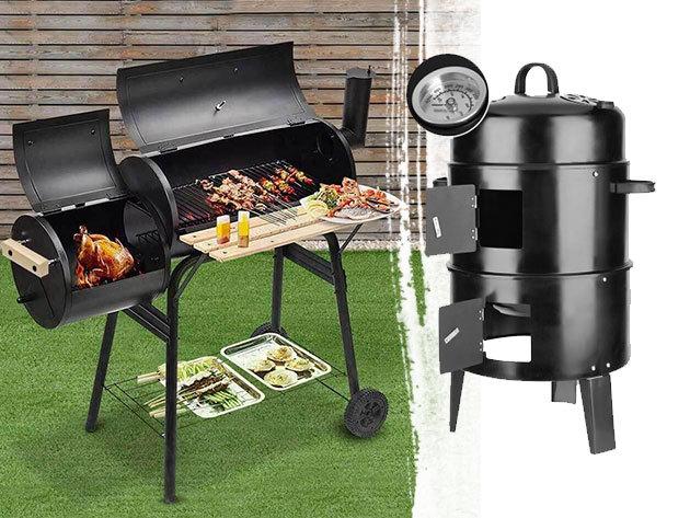 BBQ smoker beépített hőmérővel, 3 grillráccsal / 2in1 faszenes BBQ grill és smoker - füstölésre, valamint grillezésre használható