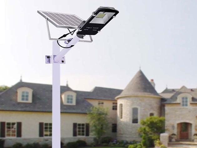 Napelemes udvari világítás 60  vagy 110 LED-del - állítható üzemidő, szabályozható világítási mód, alkonykapcsoló