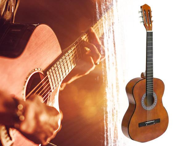 Akusztikus gitár szett kezdőknek vagy gyerekeknek, hársfa testtel és fém húrokkal , pengetővel, tokkal