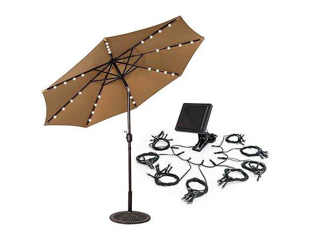 Napelemes dekor fényfüzér napernyőhöz (8 felé ágazó) a hangulatos kerti partikhoz