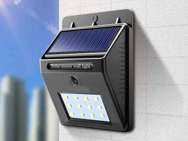 Szolár világítás: 4 db-os falra szerelhető szett alkonykapcsolóval, 120°-os világítási szöggel