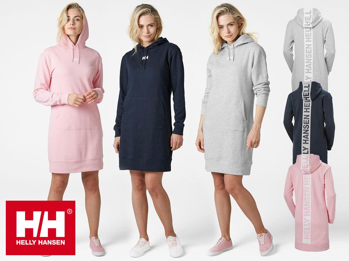 Helly Hansen W ACTIVE HOODIE DRESS - hosszú ujjú női pólóruha kényelmes szabással, pamut anyagból (XS-M)