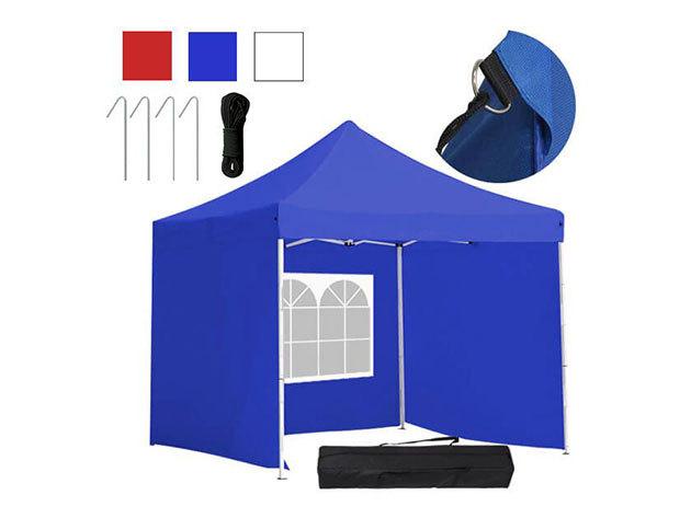 Kerti pavilon, összecsukható 3 fallal és hordtáskával 3x3 m - HOP1000807 - kék