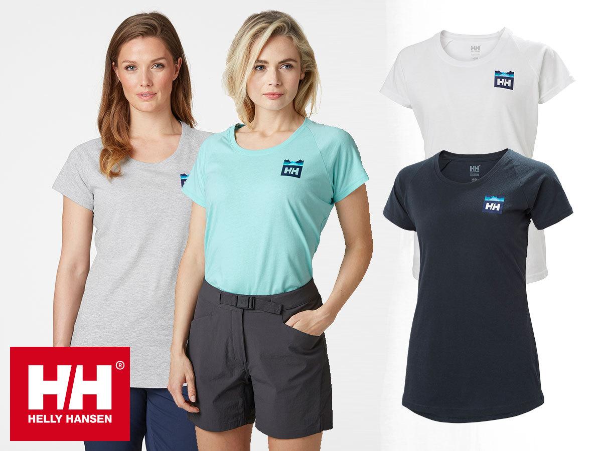 Helly Hansen W NORD GRAPHIC DROP TSHIRT- rövid ujjú, kerek nyakú női póló kevertszálas pamut anyagból (XS-XXL)