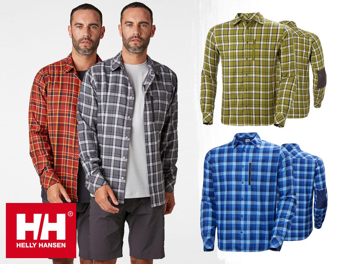 Helly Hansen LOKKA LS SHIRT - klasszikus hosszú ujjú ing, poli / pamut keverékű szövetből, UPF30 védelemmel (S-XXL)