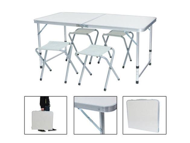 Kemping asztal 4 székkel - állítható magasságú strapabíró váz, összecsukható és hordozható