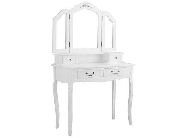 Tükrös fésülködő asztal Paris - fehér