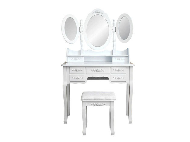 Tükrös fésülködő asztal Milano - fehér