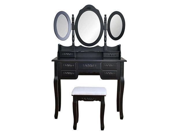 Tükrös fésülködő asztal Milano - fekete