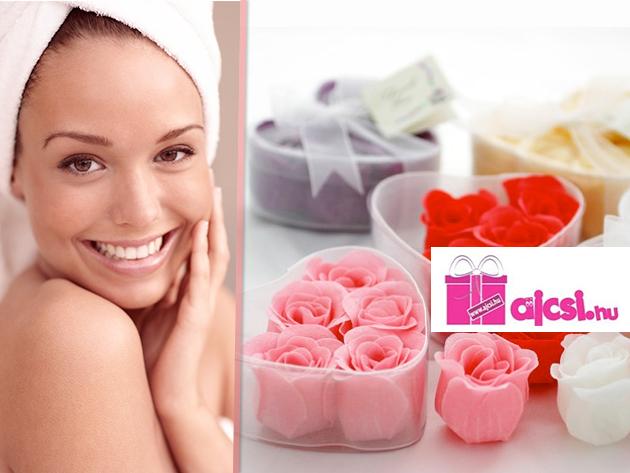 Romantikus meglepetés: 6 db rózsafej szappan szív alakú dobozban csak 790 Ft-ért!