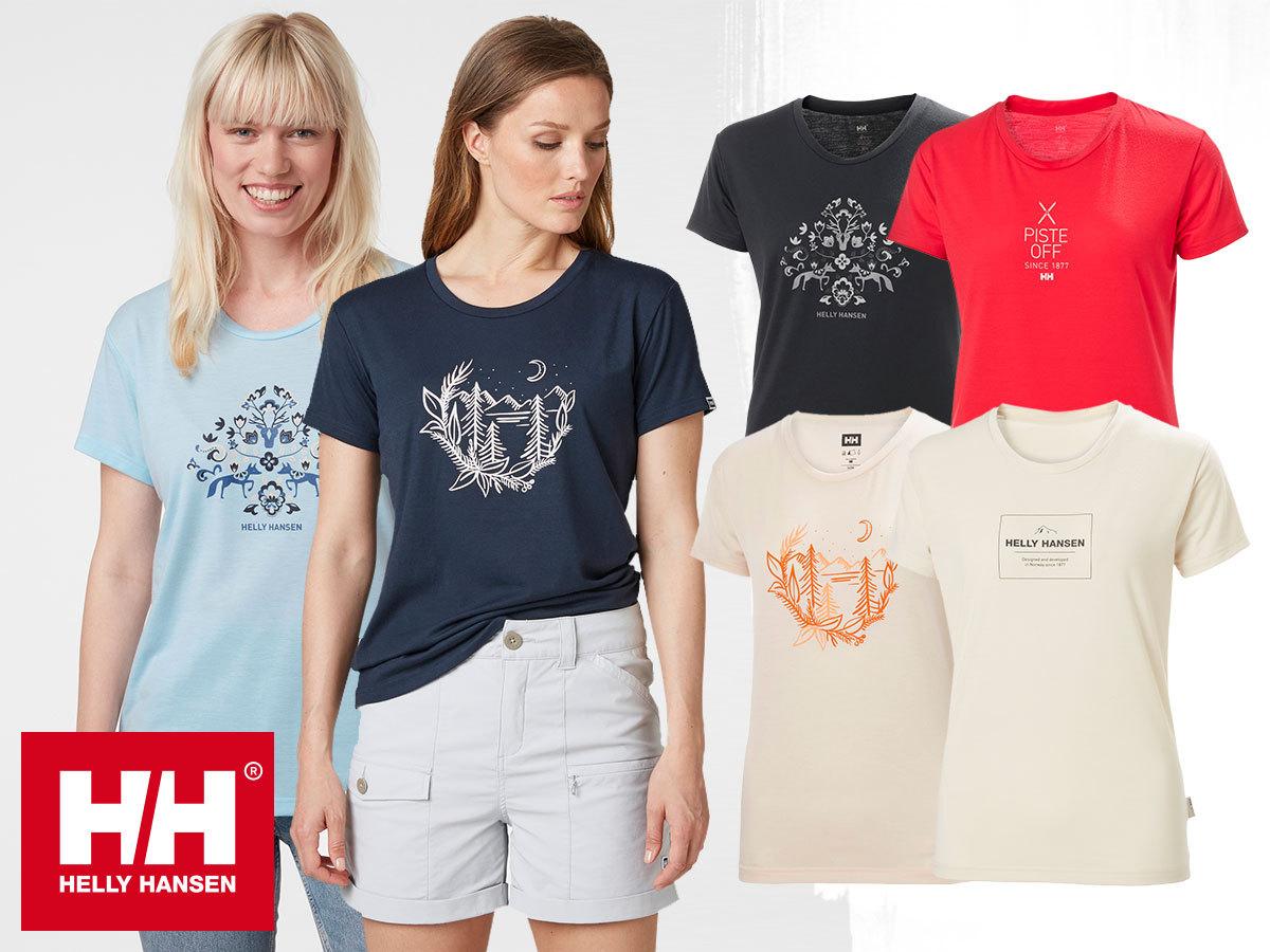 Helly Hansen W SKOG GRAPHIC TSHIRT női technikai póló, gyorsan száradó, jó nedvszívó, rugalmas ÚJRAHASZNOSÍTOTT anyagból, UPF30 fényvédelemmel  (XS-XL)