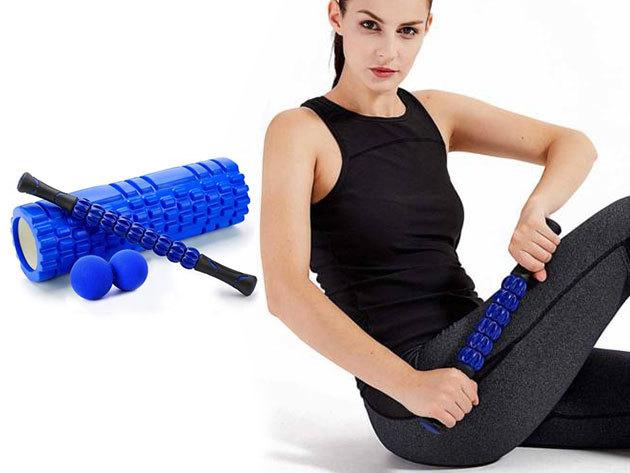 Izomlazító masszázs készlet izmok nyújtásához, relaxáláshoz - otthoni és edzőtermi használatra