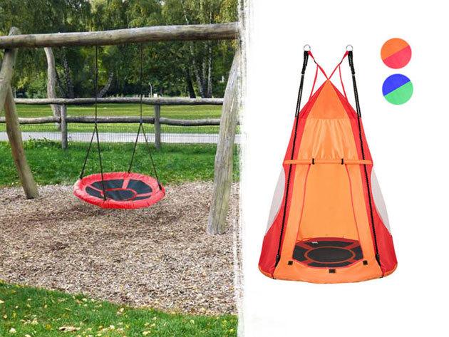Fészekhinta masszív fém kerettel, akár zárható sátorral - 2 méretben, piros vagy kék színben