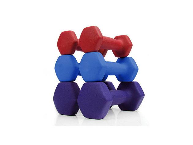 Kézi súlyzó szett (6 db) 1 kg, 1,5 kg és 2,5 kg súlyú - praktikus hordozótáskában