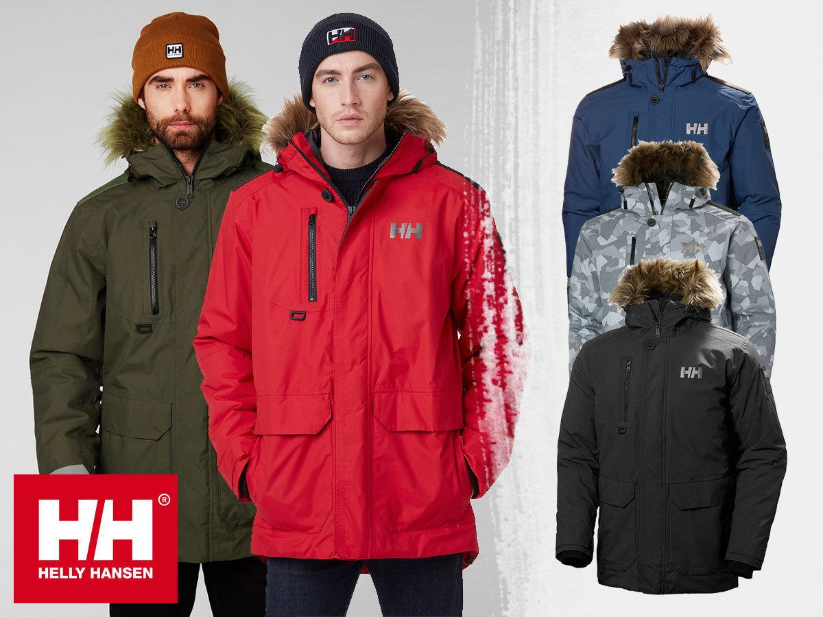 Helly Hansen prémium férfi téli kabátok kapucnival: SVALBARD PARKA Primaloft® Black béleléssel és NORSE PARKA pehely töltettel - HellyTech® Protection vízálló, szélálló, lélegző anyag / 30% kedvezménnyel