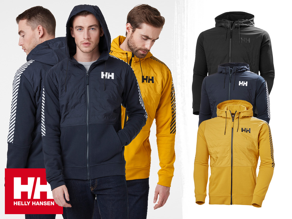 Helly Hansen STRIPE HYBRID JACKET kapucnis, cipzáras férfi pamut hibrid pulóver, párnázott mellkas résszel