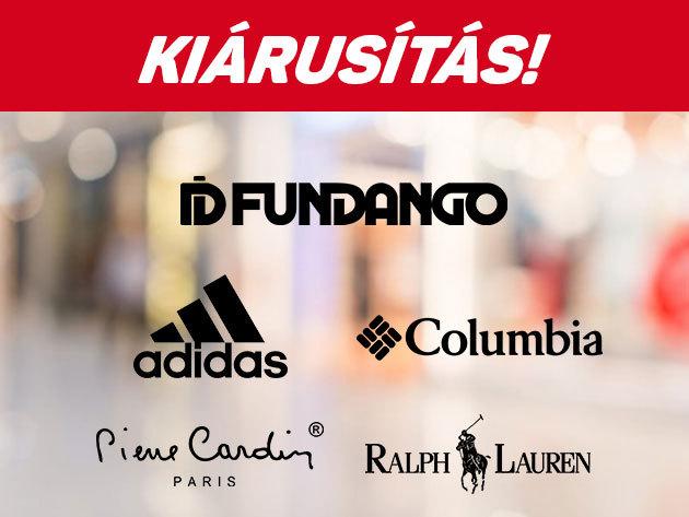 Ruházati termékek KÉSZLETKISÖPRÉS - Adidas, Puma, Reebok, Columbia, Arena, Pierre Cardin, Fundango, Ralph Lauren