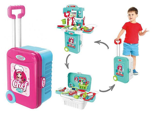 Játék gurulós bőrönd 3-féle szettel: konyhai, orvosi vagy szerszámkészlet