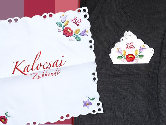 Ajándékozd meg húsvétkor locsolóidat kalocsai hímzéssel díszített, monogramos díszzsebkendővel!