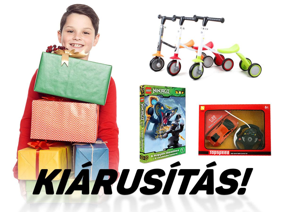 """Ajándék gyermekek számára - tricikli és roller, turbospoke bicikli """"kipufogó"""", távirányítós autó, mese DVD"""