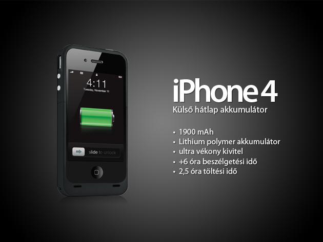 Külső, hátlap-akkumulátor az iPhone-odra 19.990Ft helyett 6.990Ft-ért!
