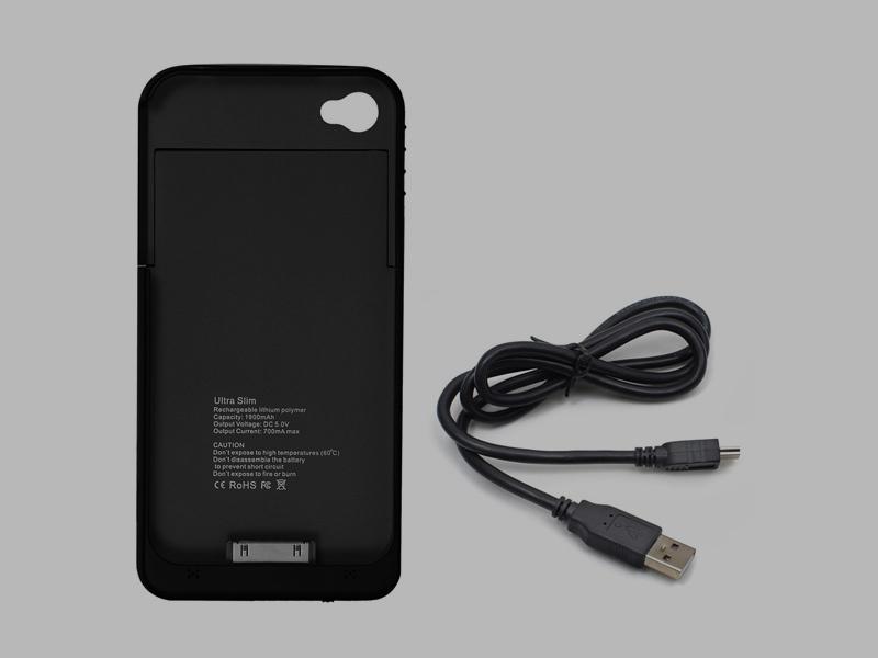 iPhone 4/4S külső hátlap akkumulátor (Fekete)