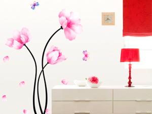 Rózsaszín virág pillangókkal (A felragasztott virág kb. 115 cm magas)