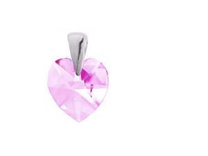 Szív swarovski Rose kristálymedál ezüst foglalattal 50 cm-es kígyó ezüst nyaklánccal