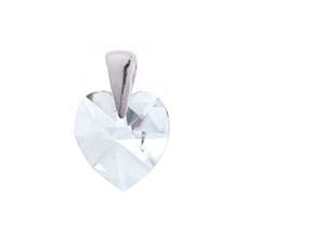 Szív swarovski Crystal kristálymedál ezüst foglalattal + 42 cm-es kígyó ezüst nyaklánccal