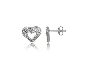 Swarovski kristályokkal díszített szív alakú ezüst fülbevaló