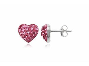 Swarovski kristályokkal díszített szív alakú ezüst fülbevaló (Rose)