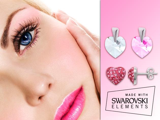 Szív alakú Swarovski kristályos ezüst ékszerek Anyák napjára!