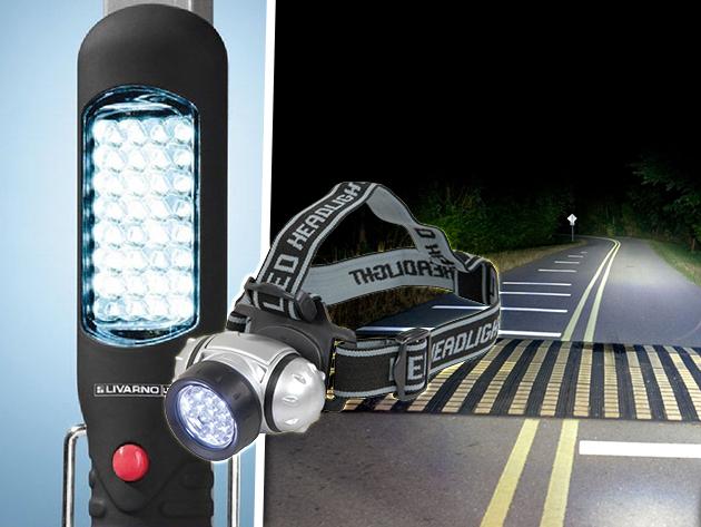 LED-es túra/szerelőlámpa + fejlámpa kiszállítással 5.990 Ft helyett 2.990 Ft-ért!
