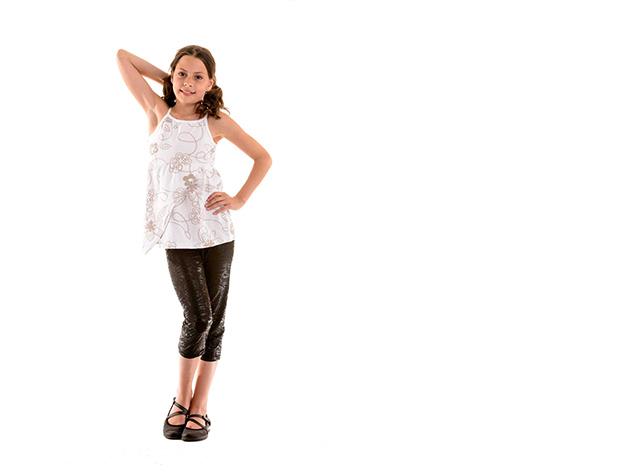 Fehér gyerek póló, lány (Méret: 128/134)