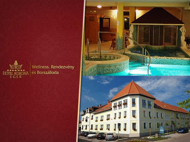 Nyári wellness pihenés borospince látogatással a Korona Hotel-ben (Eger) – 3 nap/ 2 főnek, teljes ellátással!