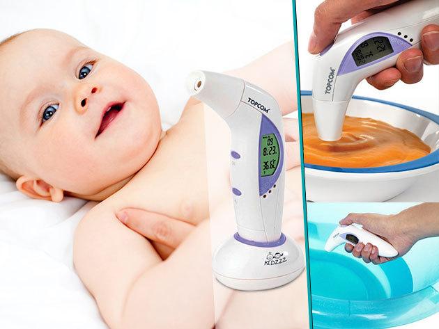 A Topcom 5 az 1-ben fül- és homlokmérővel gyorsan megmérhető a test, a tej, vagy akár a fürdővíz hőmérséklete is!