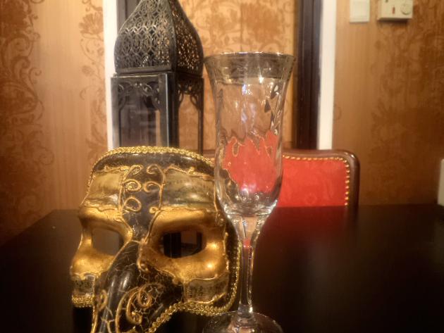 Muránói üvegpoharak (6 db platina pezsgős)