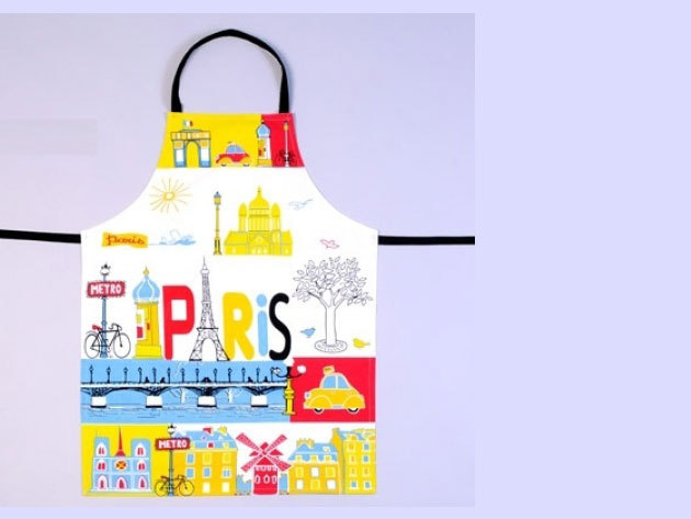 Párizs mintás konyhai kötény